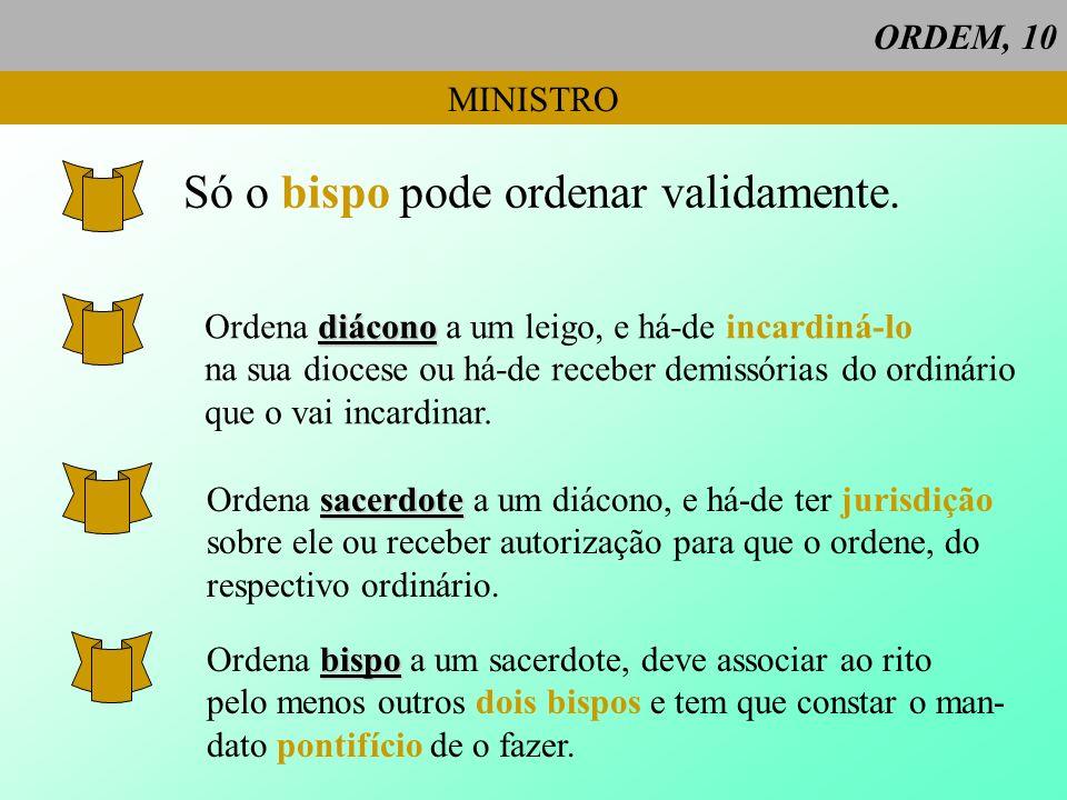 ORDEM, 10 MINISTRO Só o bispo pode ordenar validamente. diácono Ordena diácono a um leigo, e há-de incardiná-lo na sua diocese ou há-de receber demiss