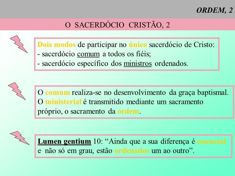 ORDEM, 2 O SACERDÓCIO CRISTÃO, 2 Dois modos de participar no único sacerdócio de Cristo: - sacerdócio comum a todos os fiéis; - sacerdócio específico