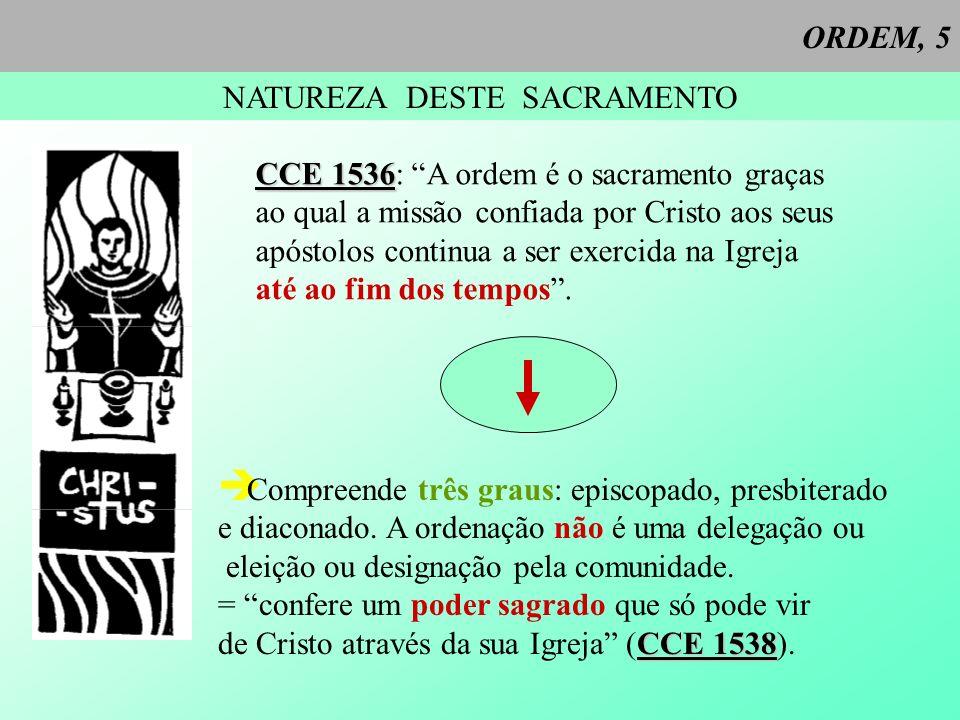 ORDEM, 5 NATUREZA DESTE SACRAMENTO CCE 1536 CCE 1536: A ordem é o sacramento graças ao qual a missão confiada por Cristo aos seus apóstolos continua a