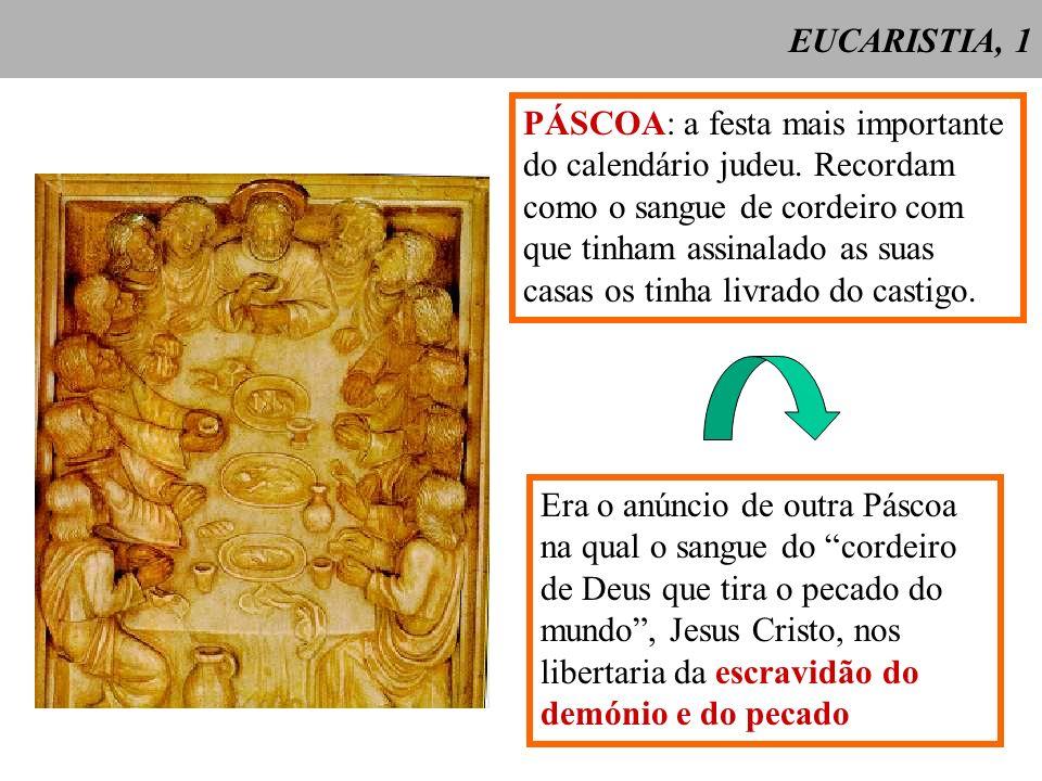 EUCARISTIA, 1 PÁSCOA: a festa mais importante do calendário judeu. Recordam como o sangue de cordeiro com que tinham assinalado as suas casas os tinha