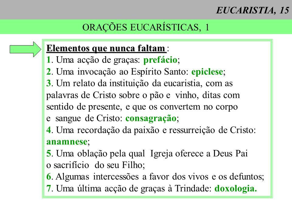 EUCARISTIA, 15 ORAÇÕES EUCARÍSTICAS, 1 Elementos que nunca faltam Elementos que nunca faltam : 1.
