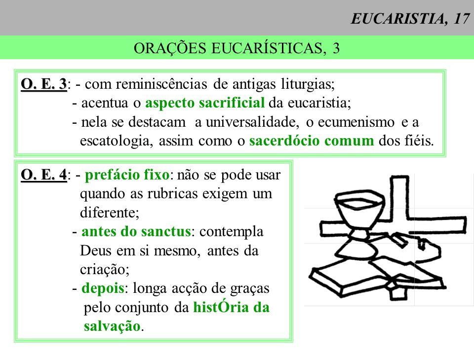 EUCARISTIA, 17 ORAÇÕES EUCARÍSTICAS, 3 O. E. 3 O. E. 3: - com reminiscências de antigas liturgias; - acentua o aspecto sacrificial da eucaristia; - ne