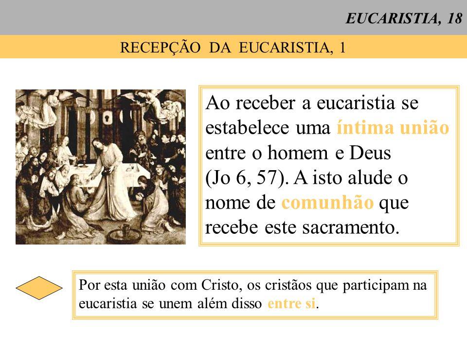 EUCARISTIA, 18 RECEPÇÃO DA EUCARISTIA, 1 Ao receber a eucaristia se estabelece uma íntima união entre o homem e Deus (Jo 6, 57). A isto alude o nome d