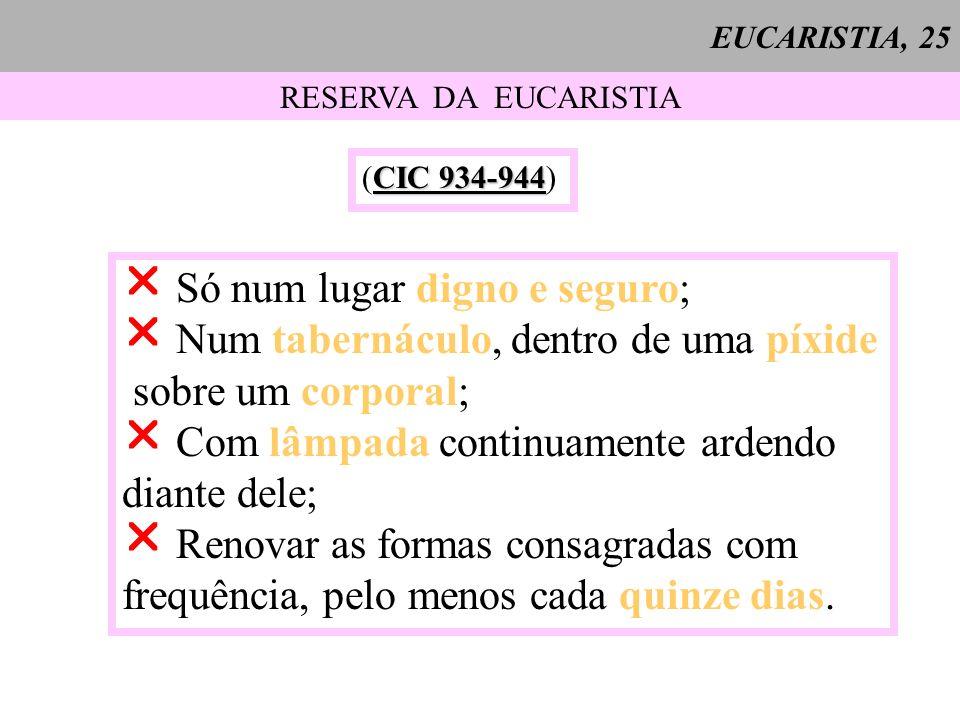 EUCARISTIA, 25 RESERVA DA EUCARISTIA CIC 934-944 (CIC 934-944) Só num lugar digno e seguro; Num tabernáculo, dentro de uma píxide sobre um corporal; C