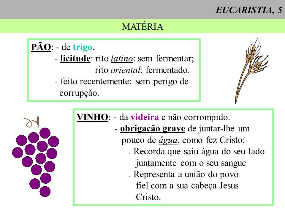 EUCARISTIA, 5 MATÉRIA PÃO PÃO: - de trigo. - licitude: rito latino: sem fermentar; rito oriental: fermentado. - feito recentemente: sem perigo de corr