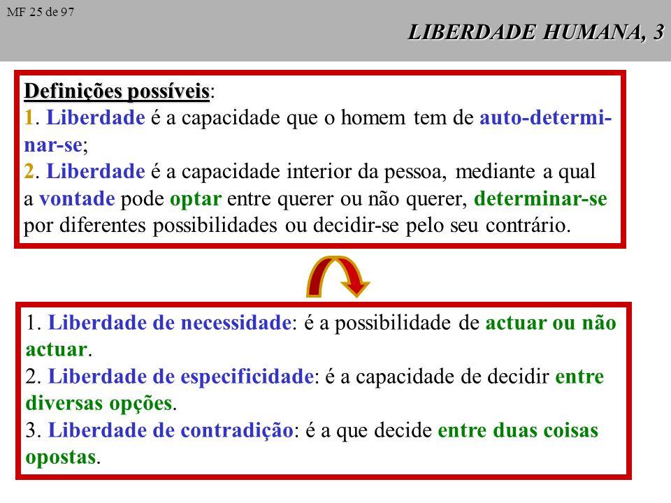 LIBERDADE HUMANA, 3 Definições possíveis Definições possíveis: 1.