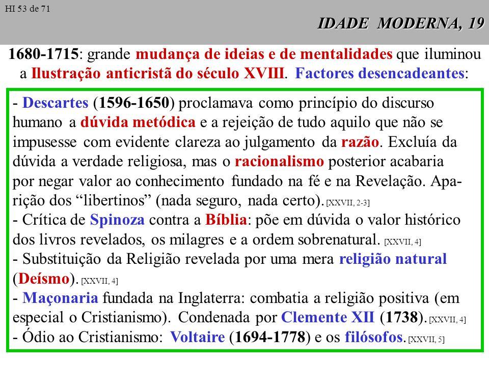 IDADE MODERNA, 19 1680-1715: grande mudança de ideias e de mentalidades que iluminou a Ilustração anticristã do século XVIII. Factores desencadeantes:
