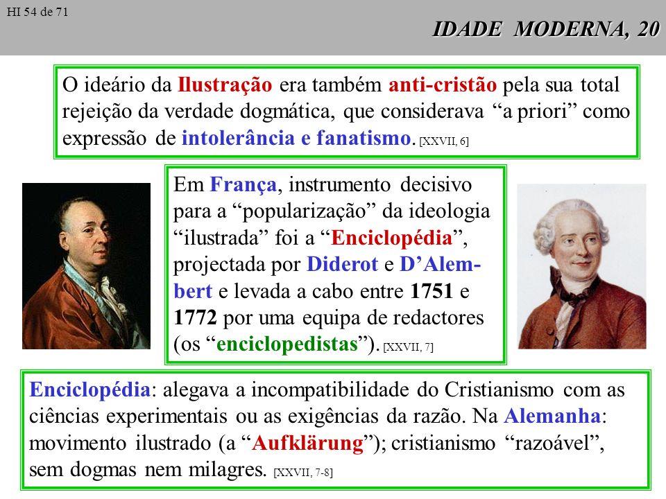 IDADE MODERNA, 20 O ideário da Ilustração era também anti-cristão pela sua total rejeição da verdade dogmática, que considerava a priori como expressã