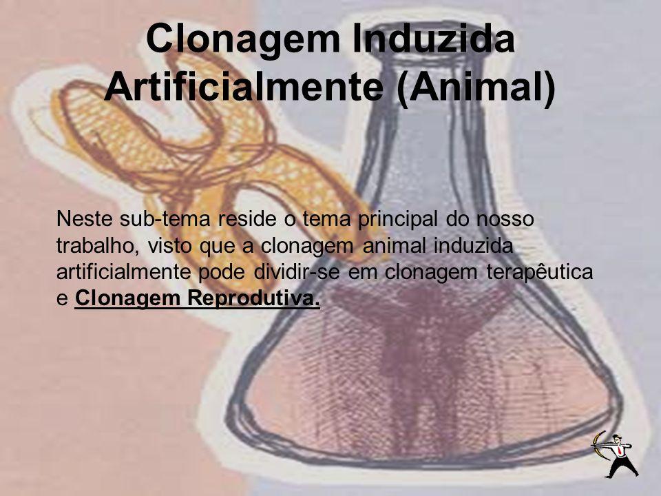 Clonagem Induzida Artificialmente (Animal) Neste sub-tema reside o tema principal do nosso trabalho, visto que a clonagem animal induzida artificialme