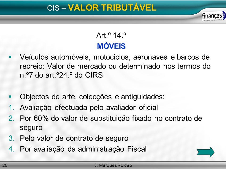 J. Marques Roldão20 CIS – VALOR TRIBUTÁVEL Art.º 14.º MÓVEIS Veículos automóveis, motociclos, aeronaves e barcos de recreio: Valor de mercado ou deter