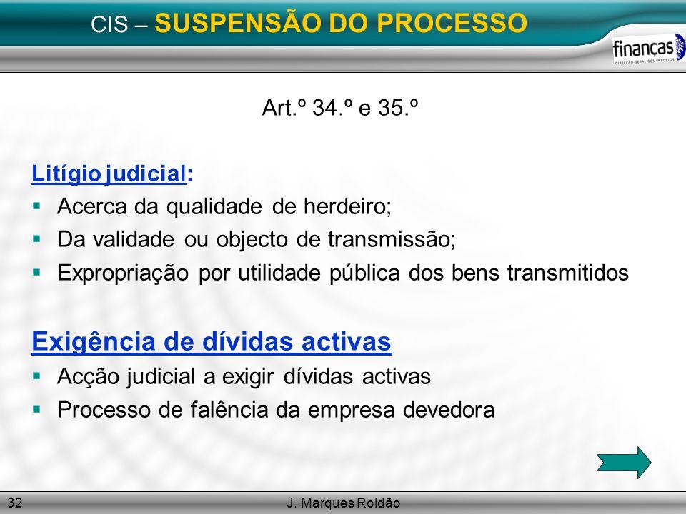 J. Marques Roldão32 CIS – SUSPENSÃO DO PROCESSO Art.º 34.º e 35.º Litígio judicial: Acerca da qualidade de herdeiro; Da validade ou objecto de transmi