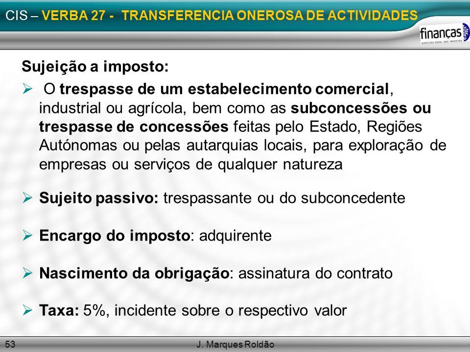 J. Marques Roldão53 CIS – VERBA 27 - TRANSFERENCIA ONEROSA DE ACTIVIDADES Sujeição a imposto: O trespasse de um estabelecimento comercial, industrial