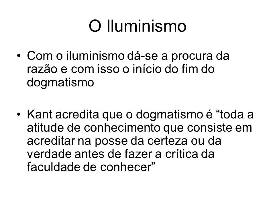 O Iluminismo Com o iluminismo dá-se a procura da razão e com isso o início do fim do dogmatismo Kant acredita que o dogmatismo é toda a atitude de con