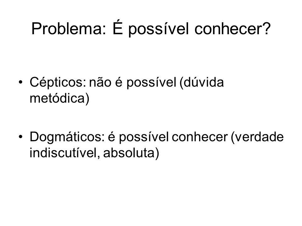 Problema: É possível conhecer? Cépticos: não é possível (dúvida metódica) Dogmáticos: é possível conhecer (verdade indiscutível, absoluta)