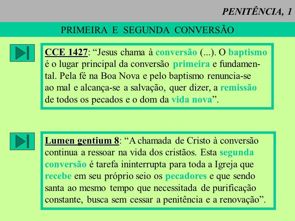 PENITÊNCIA, 1 PRIMEIRA E SEGUNDA CONVERSÃO CCE 1427 CCE 1427: Jesus chama à conversão (...). O baptismo é o lugar principal da conversão primeira e fu