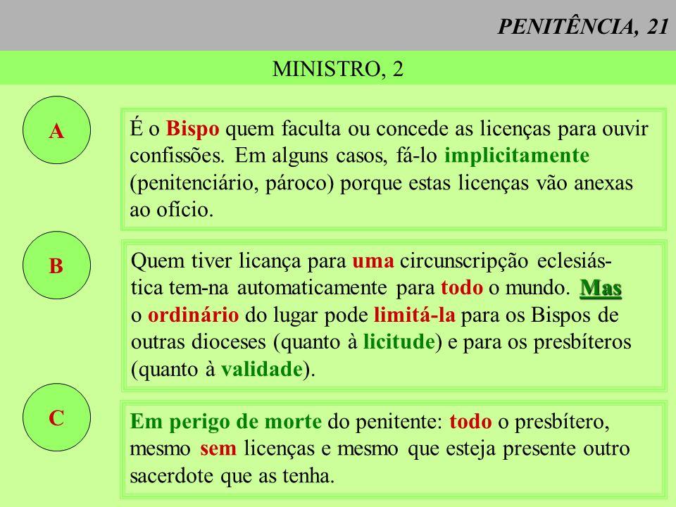 PENITÊNCIA, 21 MINISTRO, 2 A É o Bispo quem faculta ou concede as licenças para ouvir confissões. Em alguns casos, fá-lo implicitamente (penitenciário