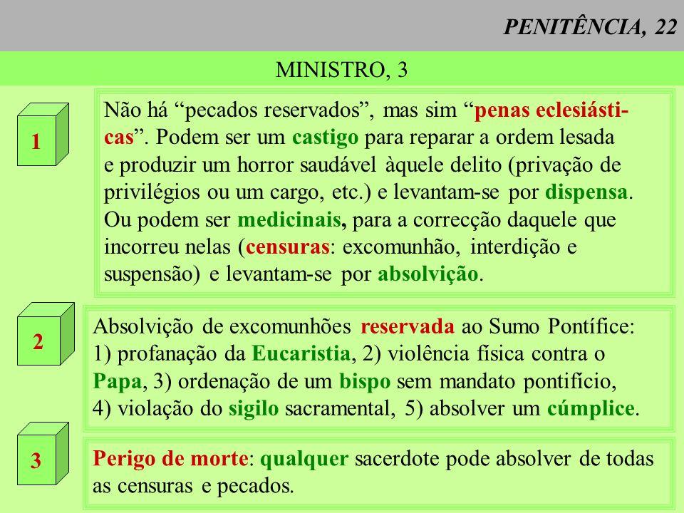 PENITÊNCIA, 22 MINISTRO, 3 1 Não há pecados reservados, mas sim penas eclesiásti- cas. Podem ser um castigo para reparar a ordem lesada e produzir um