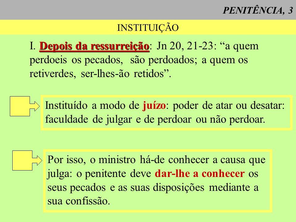 PENITÊNCIA, 3 INSTITUIÇÃO Depois da ressurreição I. Depois da ressurreição: Jn 20, 21-23: a quem perdoeis os pecados, são perdoados; a quem os retiver