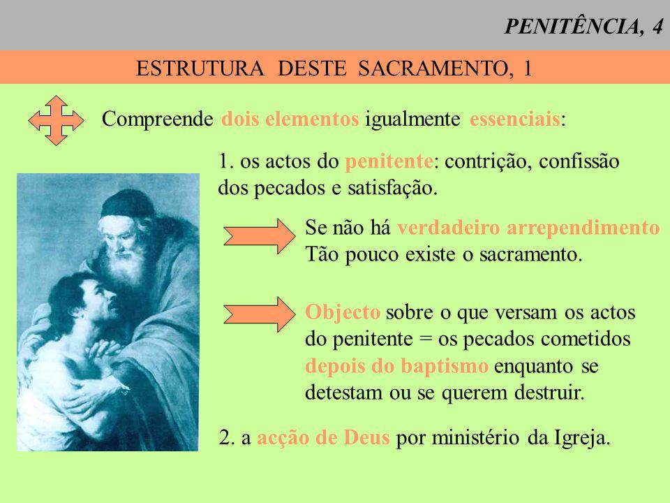 PENITÊNCIA, 4 ESTRUTURA DESTE SACRAMENTO, 1 Compreende dois elementos igualmente essenciais: 1. os actos do penitente: contrição, confissão dos pecado