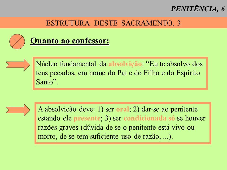 PENITÊNCIA, 6 ESTRUTURA DESTE SACRAMENTO, 3 Quanto ao confessor: Núcleo fundamental da absolvição: Eu te absolvo dos teus pecados, em nome do Pai e do