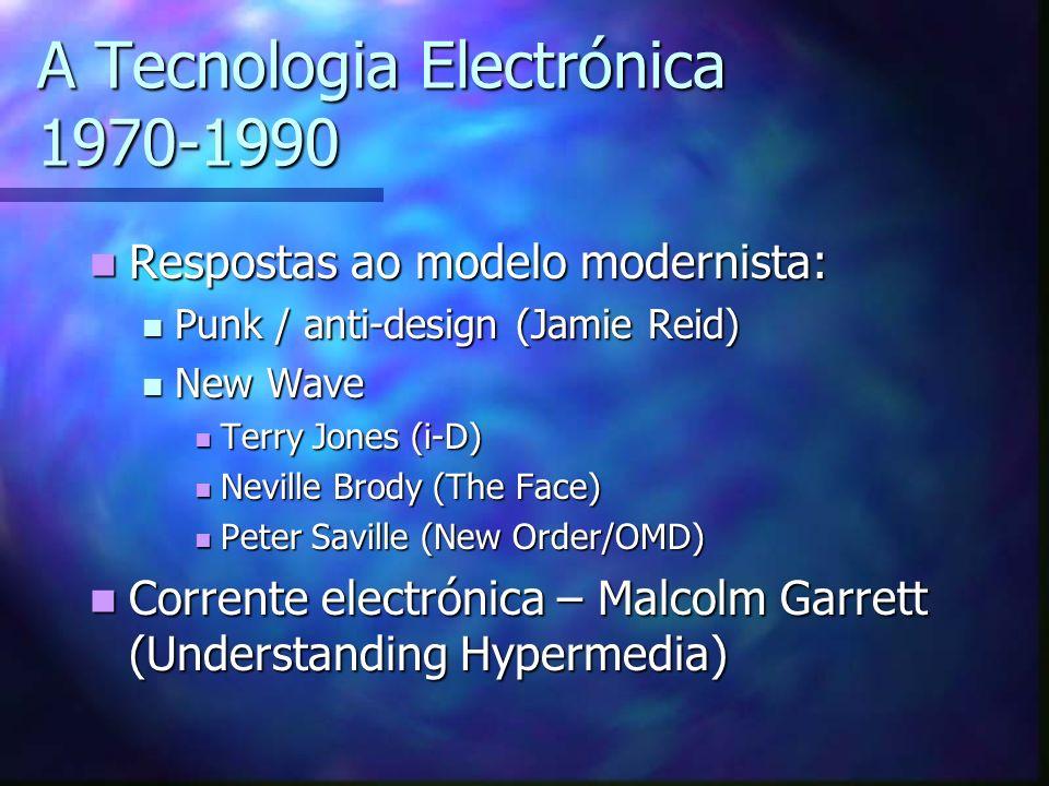 A Tecnologia Electrónica 1970-1990 Respostas ao modelo modernista: Respostas ao modelo modernista: Punk / anti-design (Jamie Reid) Punk / anti-design