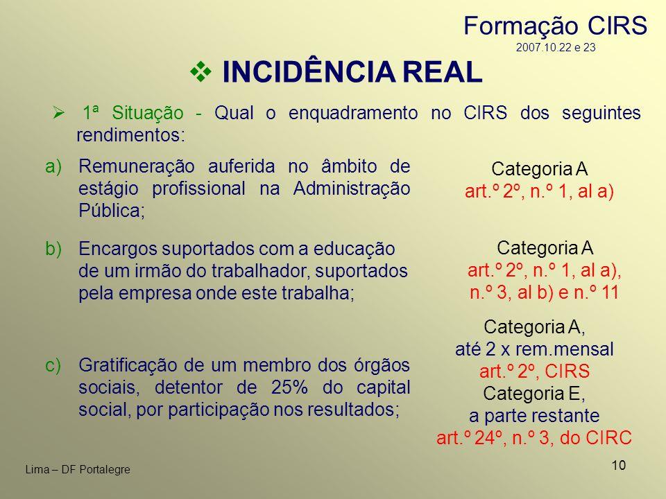 10 Lima – DF Portalegre INCIDÊNCIA REAL 1ª Situação - Qual o enquadramento no CIRS dos seguintes rendimentos: c)Gratificação de um membro dos órgãos s