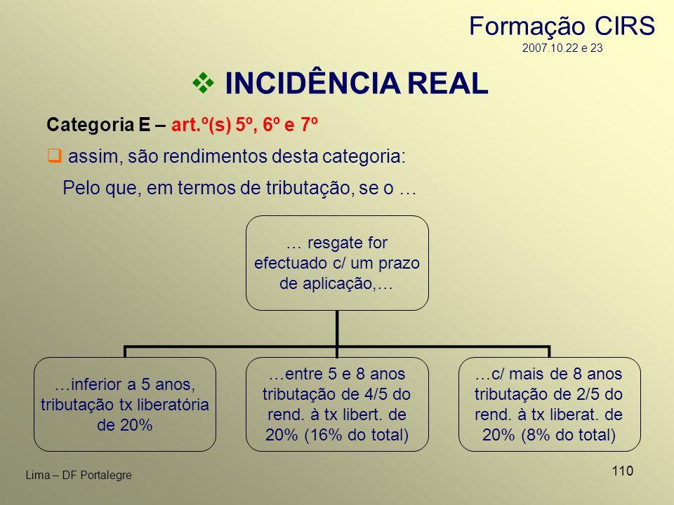 110 Lima – DF Portalegre INCIDÊNCIA REAL Categoria E – art.º(s) 5º, 6º e 7º assim, são rendimentos desta categoria: Pelo que, em termos de tributação,
