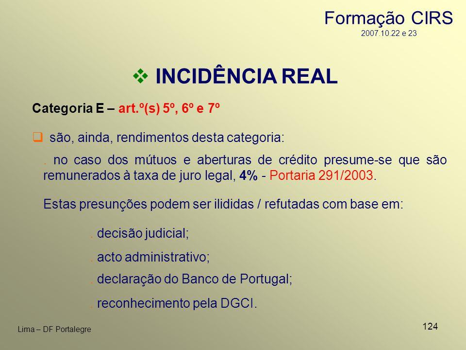 124 Lima – DF Portalegre INCIDÊNCIA REAL Categoria E – art.º(s) 5º, 6º e 7º. no caso dos mútuos e aberturas de crédito presume-se que são remunerados