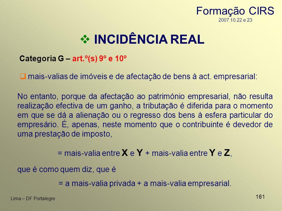 161 Lima – DF Portalegre INCIDÊNCIA REAL Categoria G – art.º(s) 9º e 10º No entanto, porque da afectação ao património empresarial, não resulta realiz
