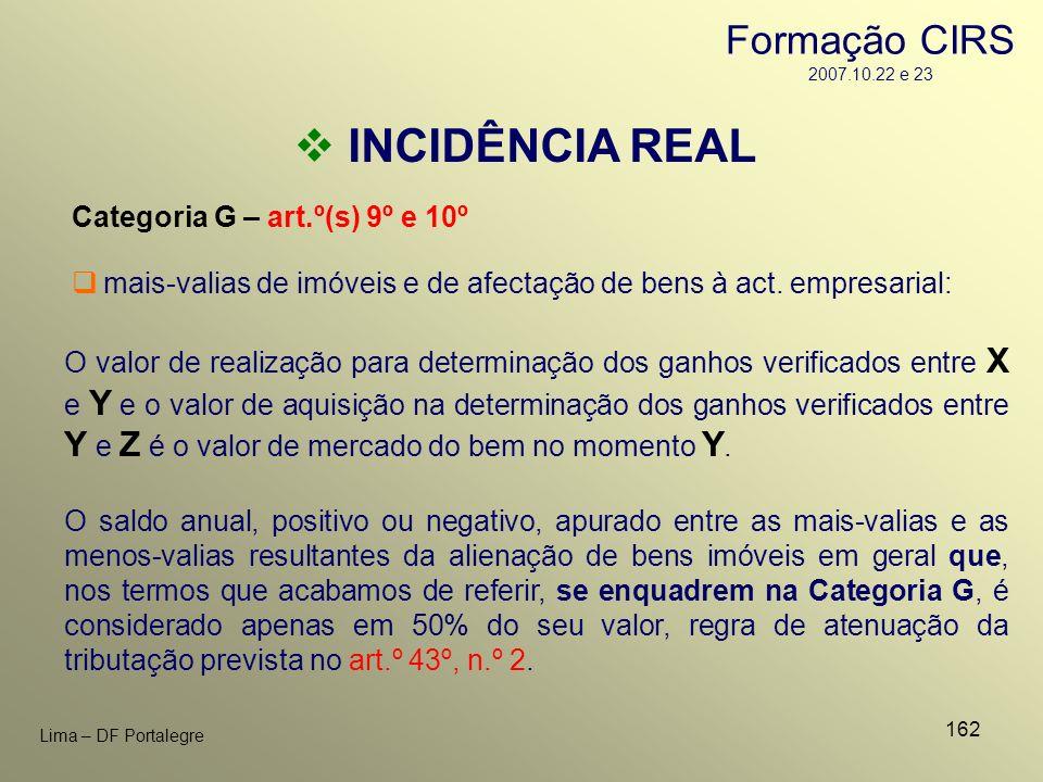 162 Lima – DF Portalegre INCIDÊNCIA REAL Categoria G – art.º(s) 9º e 10º O valor de realização para determinação dos ganhos verificados entre X e Y e