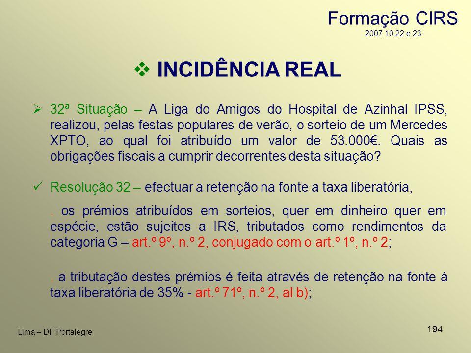 194 Lima – DF Portalegre INCIDÊNCIA REAL 32ª Situação – A Liga do Amigos do Hospital de Azinhal IPSS, realizou, pelas festas populares de verão, o sor