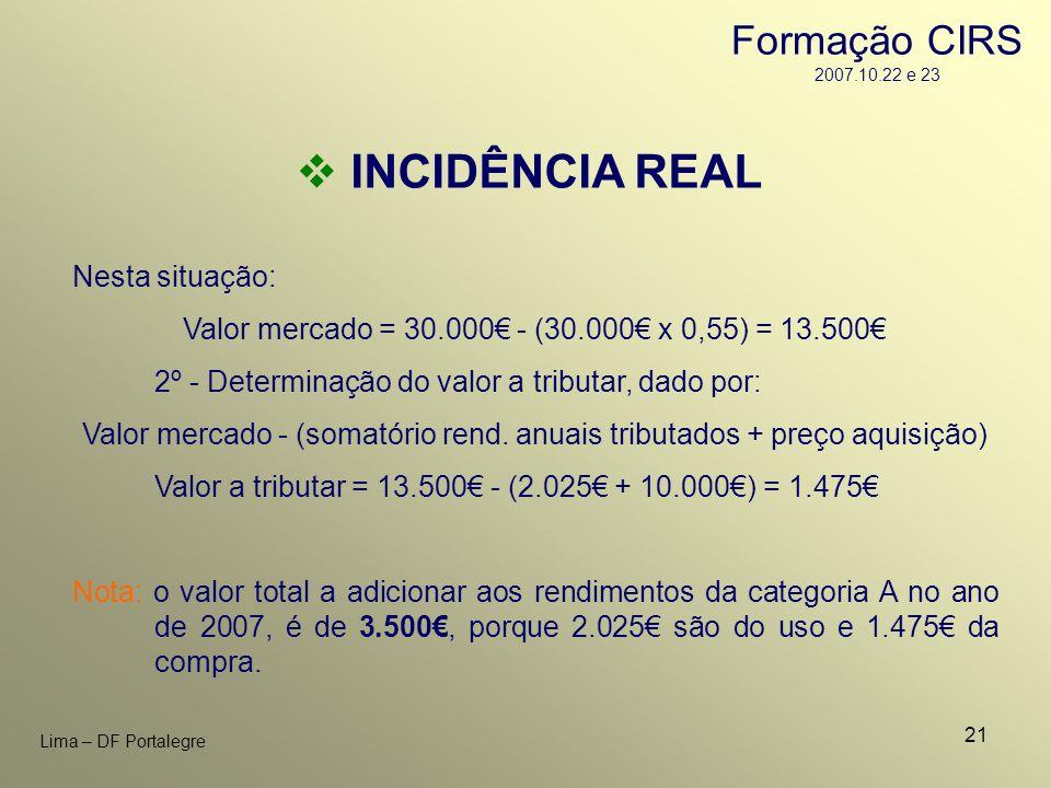 21 Lima – DF Portalegre INCIDÊNCIA REAL Nesta situação: Valor mercado = 30.000 - (30.000 x 0,55) = 13.500 2º - Determinação do valor a tributar, dado