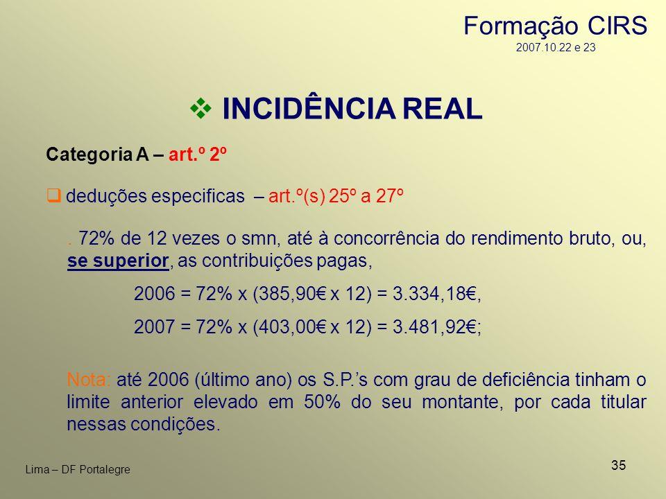 35 Lima – DF Portalegre INCIDÊNCIA REAL Categoria A – art.º 2º. 72% de 12 vezes o smn, até à concorrência do rendimento bruto, ou, se superior, as con