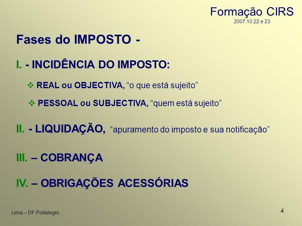 4 Lima – DF Portalegre I. - INCIDÊNCIA DO IMPOSTO: REAL ou OBJECTIVA, o que está sujeito PESSOAL ou SUBJECTIVA, quem está sujeito II. - LIQUIDAÇÃO, ap