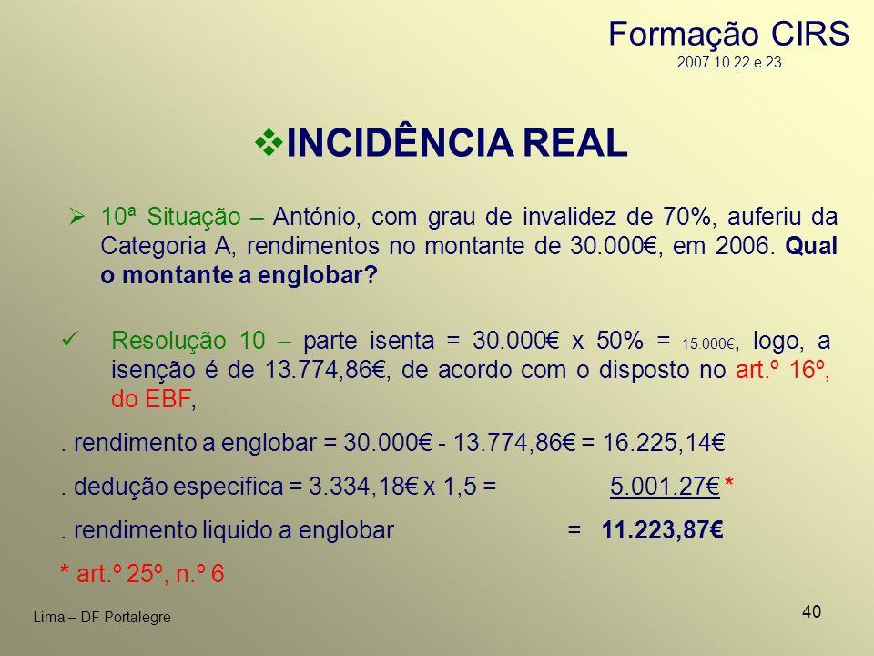 40 Lima – DF Portalegre INCIDÊNCIA REAL 10ª Situação – António, com grau de invalidez de 70%, auferiu da Categoria A, rendimentos no montante de 30.00