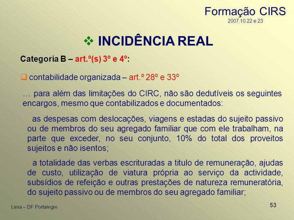 53 Lima – DF Portalegre INCIDÊNCIA REAL Categoria B – art.º(s) 3º e 4º: … para além das limitações do CIRC, não são dedutíveis os seguintes encargos,