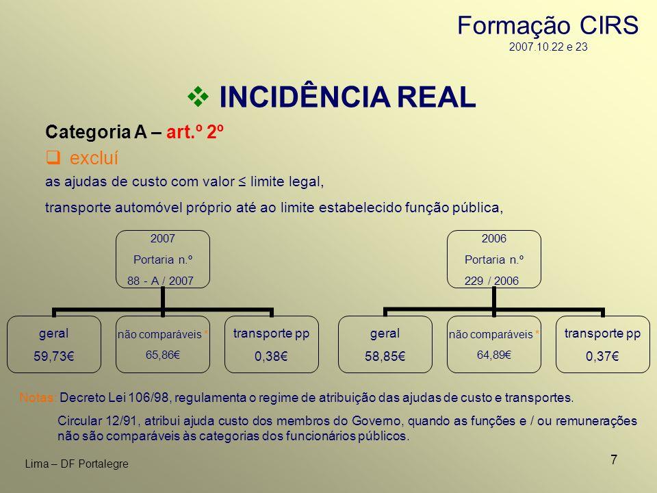 7 Lima – DF Portalegre INCIDÊNCIA REAL Categoria A – art.º 2º as ajudas de custo com valor limite legal, transporte automóvel próprio até ao limite es