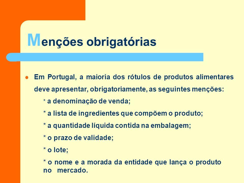 M enções obrigatórias Em Portugal, a maioria dos rótulos de produtos alimentares deve apresentar, obrigatoriamente, as seguintes menções: * a denominação de venda; * a lista de ingredientes que compõem o produto; * a quantidade líquida contida na embalagem; * o prazo de validade; * o lote; * o nome e a morada da entidade que lança o produto no mercado.