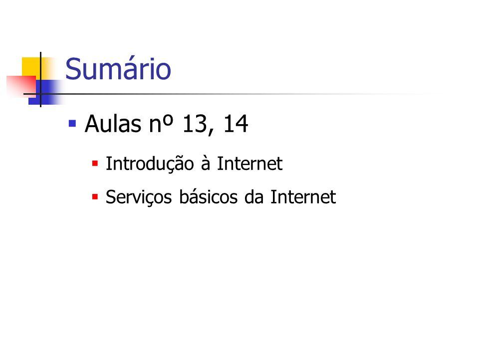 Sumário Aulas nº 13, 14 Introdução à Internet Serviços básicos da Internet