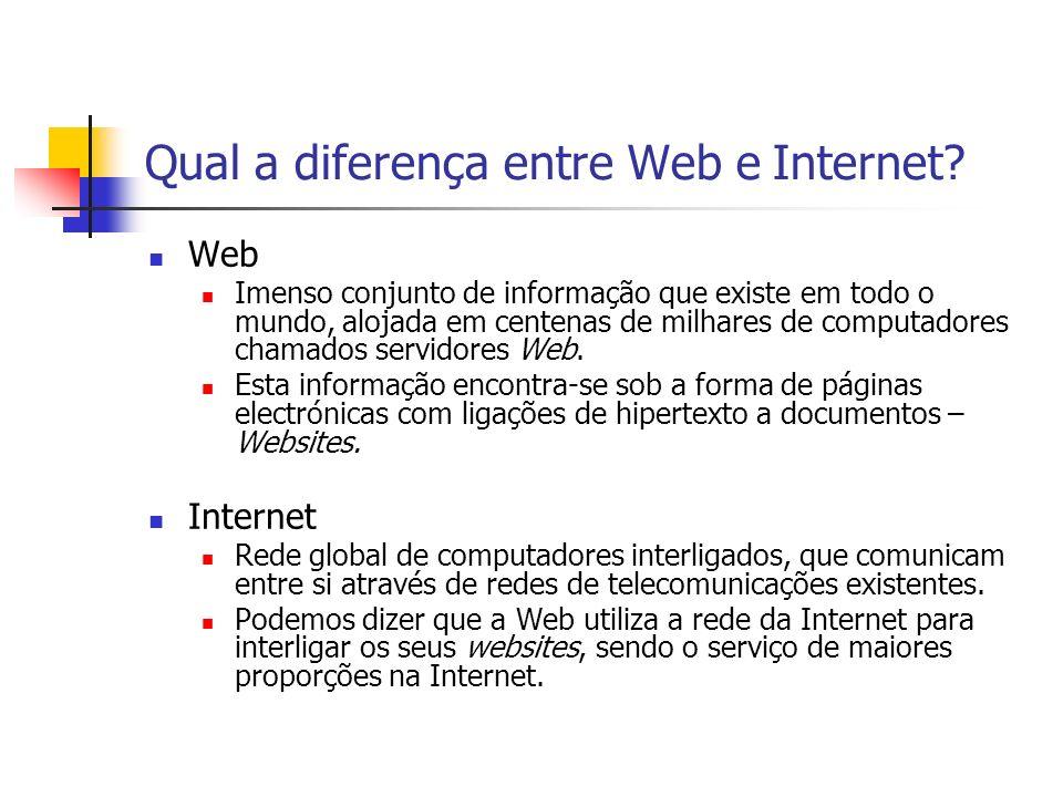 Qual a diferença entre Web e Internet? Web Imenso conjunto de informação que existe em todo o mundo, alojada em centenas de milhares de computadores c