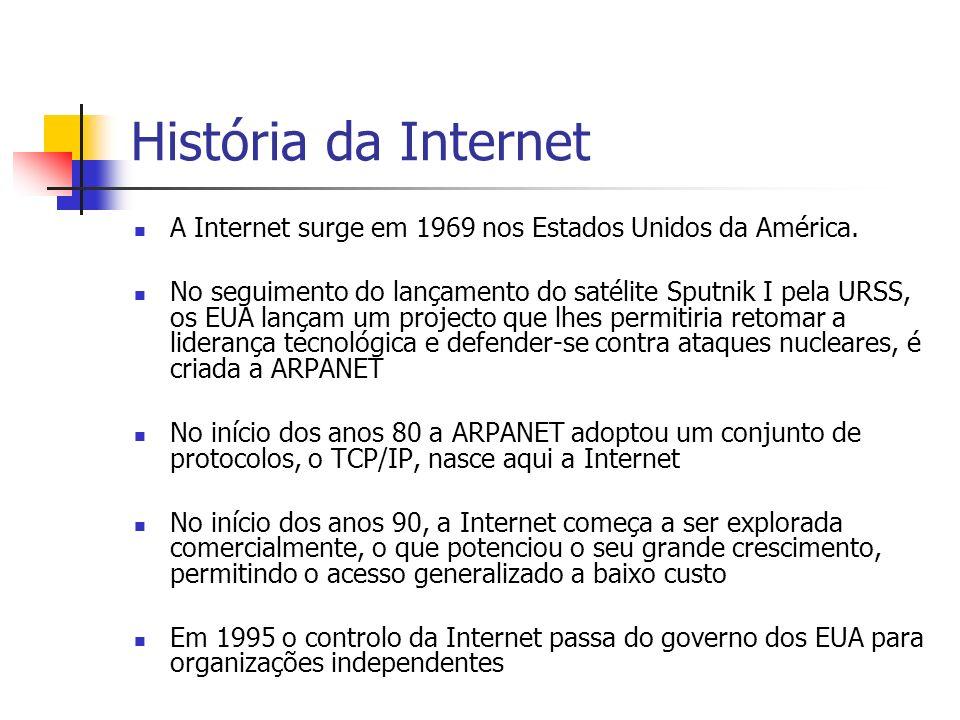 História da Internet A Internet surge em 1969 nos Estados Unidos da América. No seguimento do lançamento do satélite Sputnik I pela URSS, os EUA lança