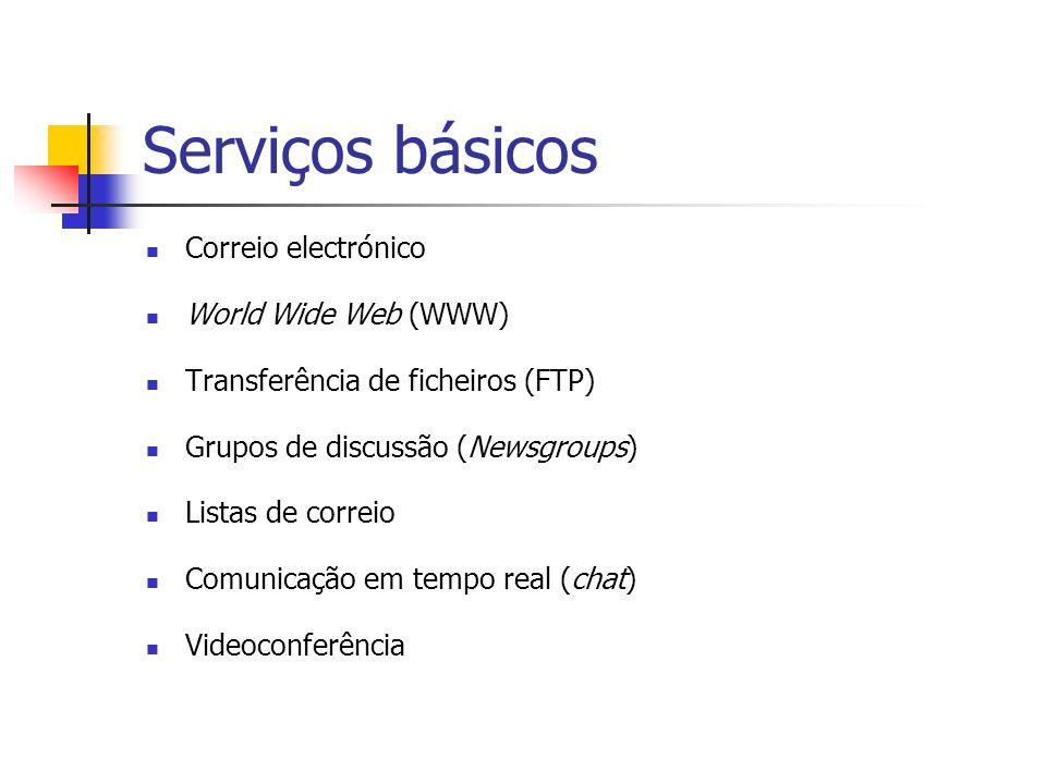 Serviços básicos Correio electrónico World Wide Web (WWW) Transferência de ficheiros (FTP) Grupos de discussão (Newsgroups) Listas de correio Comunica
