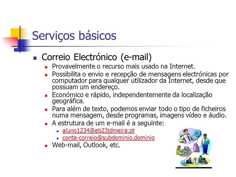 Serviços básicos Correio Electrónico (e-mail) Provavelmente o recurso mais usado na Internet. Possibilita o envio e recepção de mensagens electrónicas