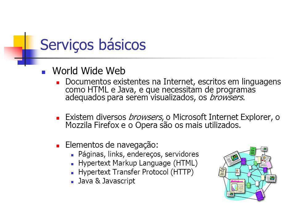 Serviços básicos World Wide Web Documentos existentes na Internet, escritos em linguagens como HTML e Java, e que necessitam de programas adequados pa