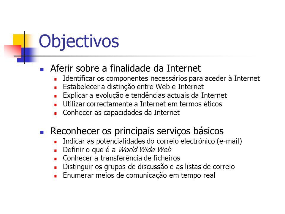 Objectivos Aferir sobre a finalidade da Internet Identificar os componentes necessários para aceder à Internet Estabelecer a distinção entre Web e Int