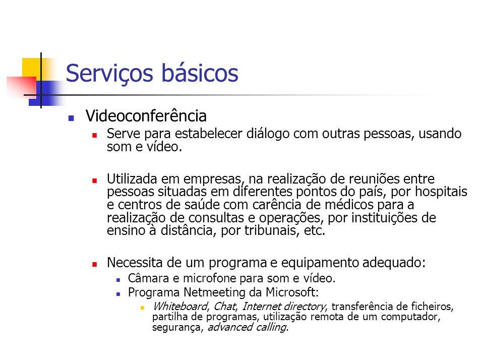 Serviços básicos Videoconferência Serve para estabelecer diálogo com outras pessoas, usando som e vídeo. Utilizada em empresas, na realização de reuni