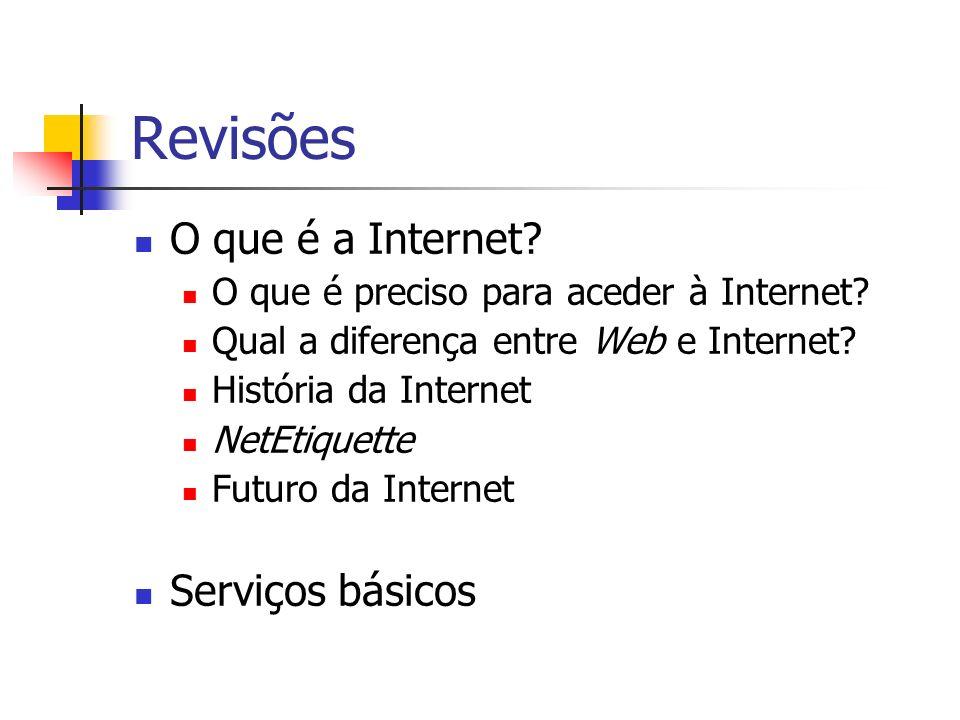 Revisões O que é a Internet? O que é preciso para aceder à Internet? Qual a diferença entre Web e Internet? História da Internet NetEtiquette Futuro d