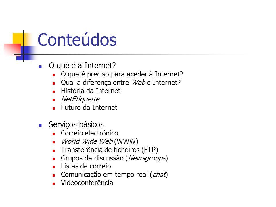 Conteúdos O que é a Internet? O que é preciso para aceder à Internet? Qual a diferença entre Web e Internet? História da Internet NetEtiquette Futuro