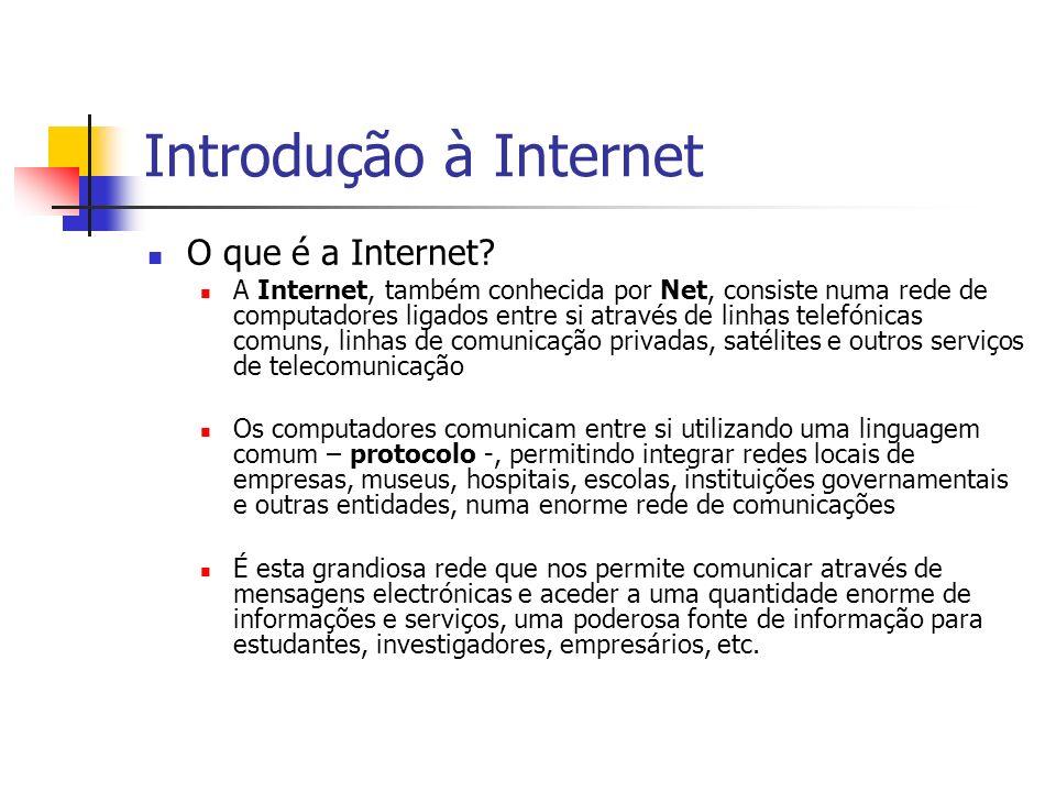 Introdução à Internet O que é a Internet? A Internet, também conhecida por Net, consiste numa rede de computadores ligados entre si através de linhas
