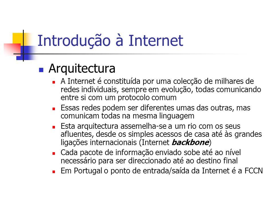 Introdução à Internet Arquitectura A Internet é constituída por uma colecção de milhares de redes individuais, sempre em evolução, todas comunicando e